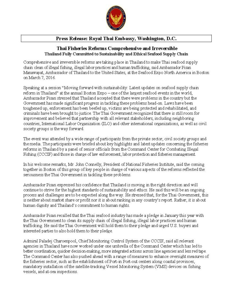 Press Release - Thai Fisheries Reforms Comprehensive and Irreversible - 9 March 2016_Page_1